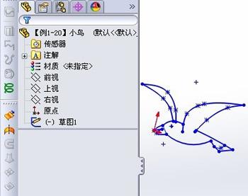 solidworks 曲线小鸟实例