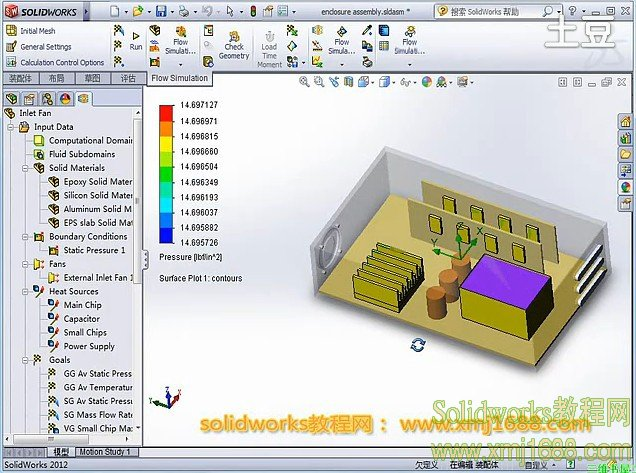 solidworks2012 Flow Simulation 电子设备散热问题